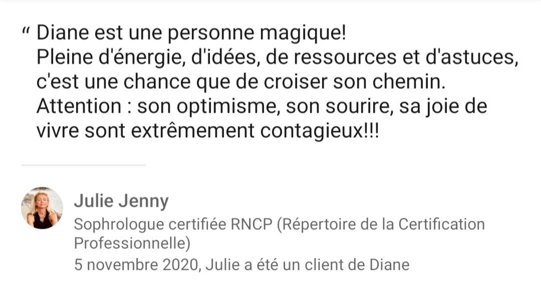 Témoignage Diane Enchanteresse en Santé - Julie sophrologue